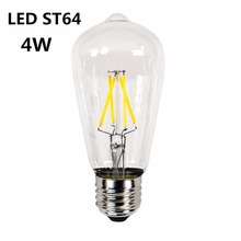 wholesale high quality dimmable edison filament LED bulb E27 ST64 6W