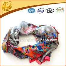 2015 Newest Novel Fashionable 100% Silk Printed Latest Scarf Designs