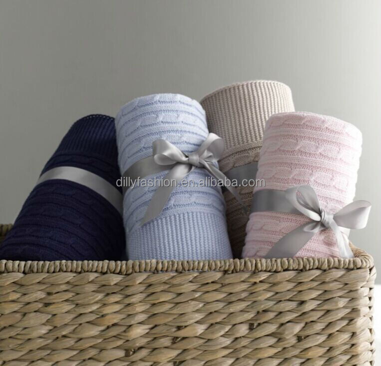 baby blanket 100% cotton cable knitted blanket