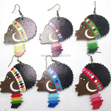 2017 African Girl Wooden Earrings