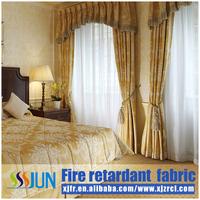 Ready made blackout permanent flame retardant hotel window curtains XJC0002