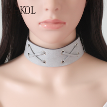 Latest design different color can be choosed wide leather short choker necklace