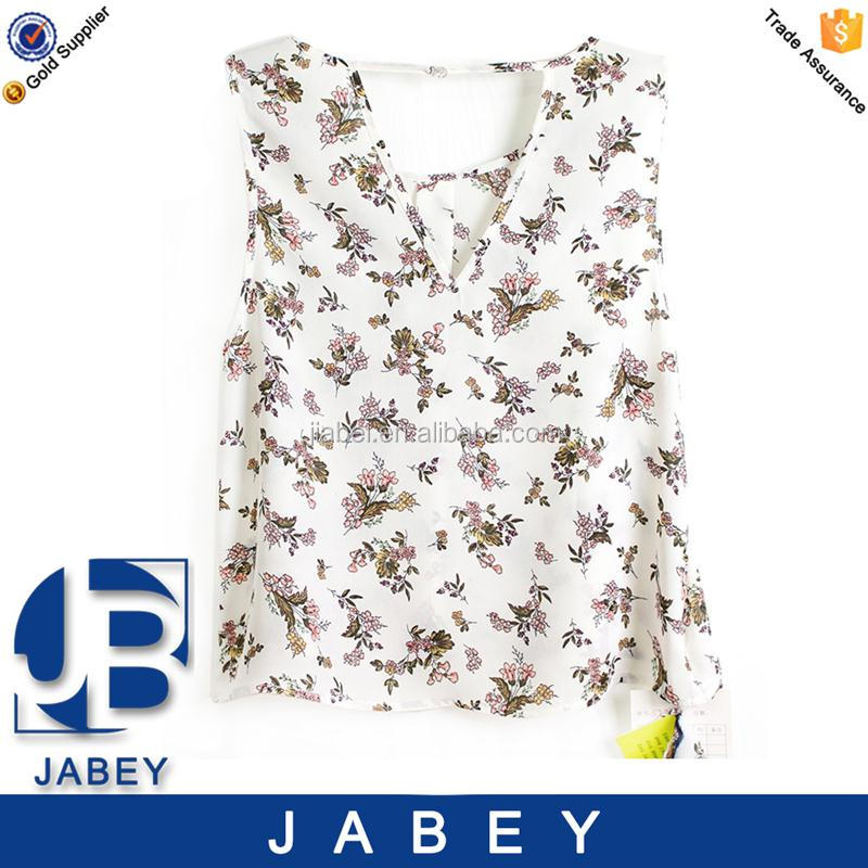 2016 summer V neck floral printed sleeveless chiffon blouse