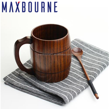 Premuim Quality Wood Products Drinking Water Cup 300ml Beer,Coffee,Milk Tea Wooden Mugs With Handle