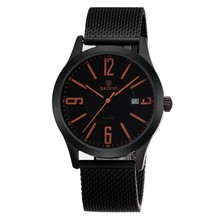 skone 7347 IP black woven steel band watches