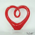 Modern abstract hotel table top decorative red colored heart shape hand blown glass art sculpture