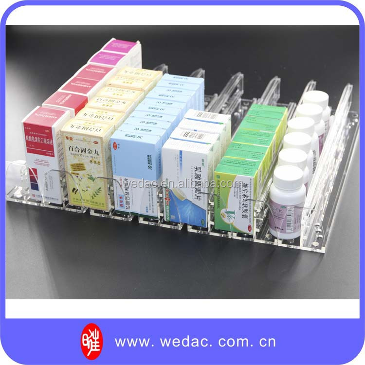 clear acrylic shelf divider for displaying goods with pusher