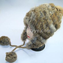 Hot selling hat knitted rabbit fur cap ladies fashion with fluffy hair