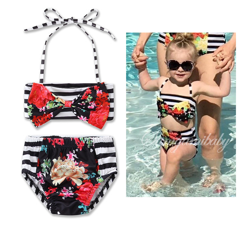 Stripe Top Floral Kids Sexy Girl Baby Swimsuit Beautiful Girl Bikini