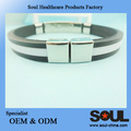 high-grade selling natural silicon energy bracelet with shiny metal