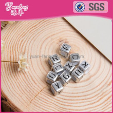 china bead manufacturers wholesale Mini metallic silver plated beads acrylic alphabet letters