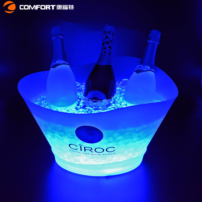 Large light circular durable promotional ice bucket with champagne