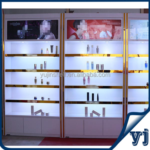 Retail Lighted MDF Makeup Cabinet Showcase For Make Up Store Display