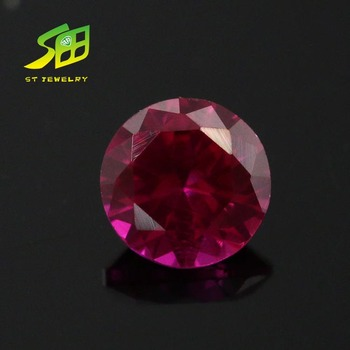 wholesale round shanpe red color synthetic ruby cabochon corundum gemstone