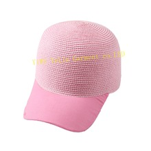 solid color elegant lady short Round Brim Wholesale Foldable baseball Summer Women Beach Sun Visor Straw Hat