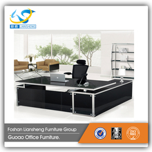 Promotional newest style tempered glass office table furniture design PAT-31