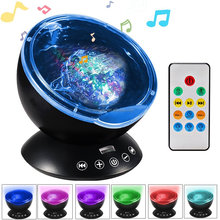 Remote Control Night Light Upgraded Ocean Wave Light Projector 7 Colors with Bulit-in Speaker