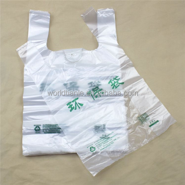 Top quality and low price green text printed factory manufactured environmentally friendly t-shirt vest plastic bag