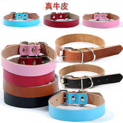 Pet supplies real leather can be engraved dog collar