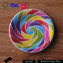 Rainbow design colorful disposable paper plate partyware