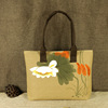 Handmade Lotus Painting Woman Tote Bags Chinese Silk Shoulder Bags