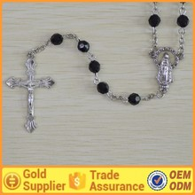 Catholic religious items souvenirs rosary necklace Faceted Black Beads catholic rosary necklace wholesale