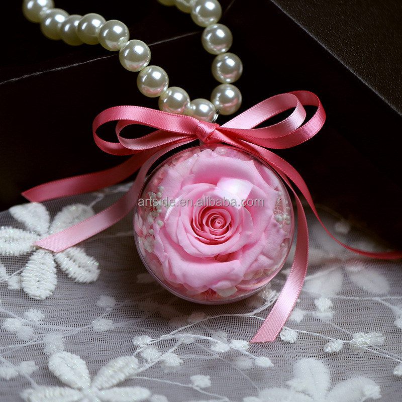 Preserved Fresh Rose Plush Pearl Chain Decorative Car Hanging Ornaments