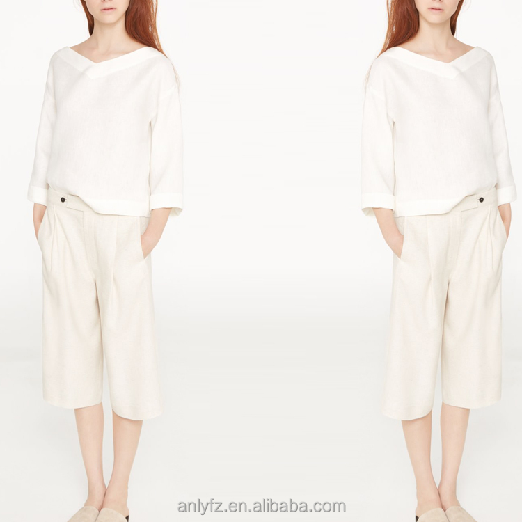 Anly wholesale latest hot selling plain white long premium linen-blend elegant casual loose trouser for women