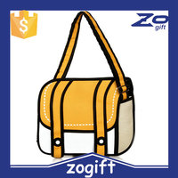 ZOGIFT Womens Bags 3D Jump Style 2D Drawing From Cartoon shape Bag yellow