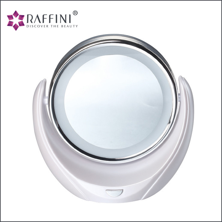 Factory cheapest Tabletop LED Lighted Makeup Free Rotation Movable Cosmetic Bathroom Mirror Lamp