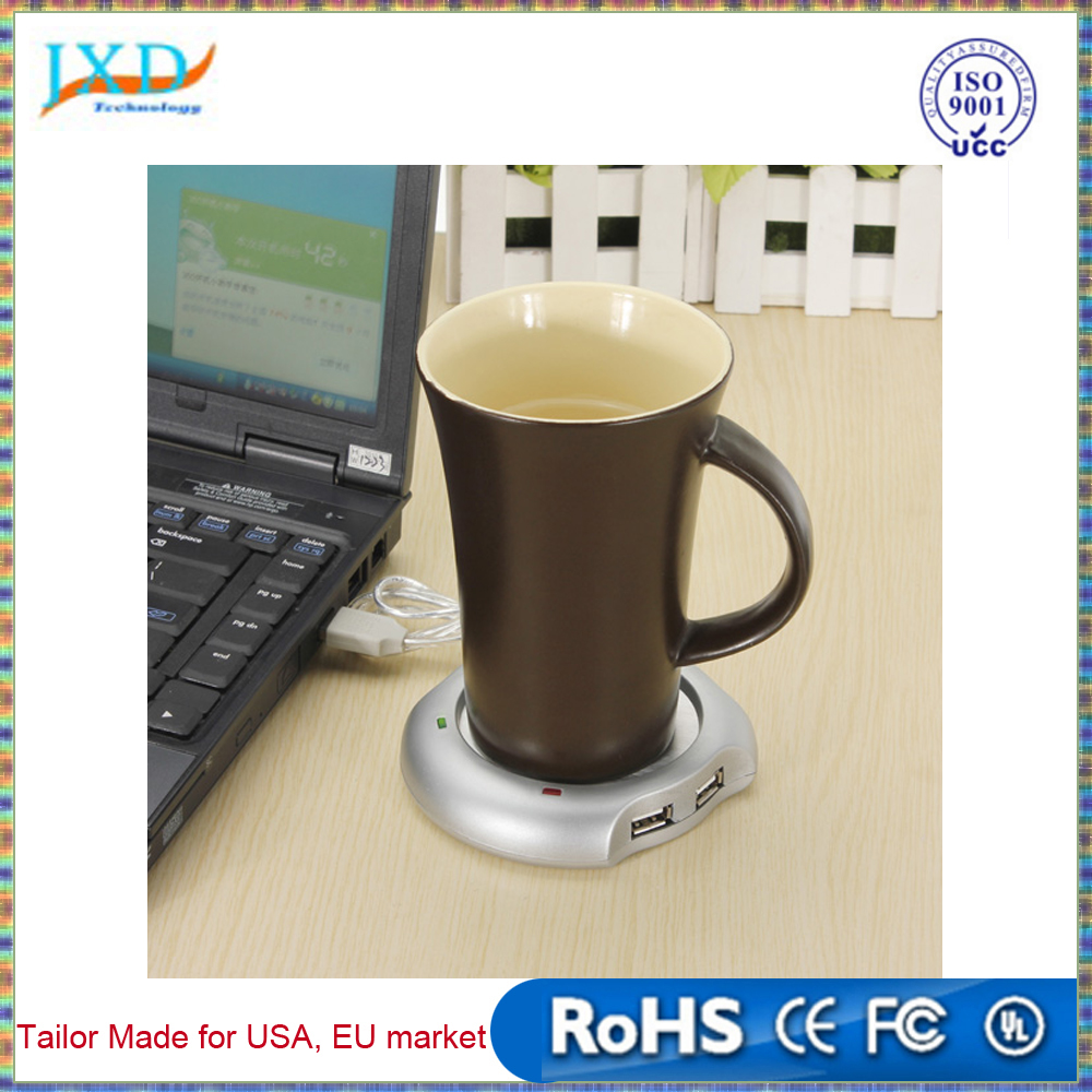 New Arrival Wired Muti-function Tea Coffee Cup Mug Warmer Heater Office Pad With 4 Port Hub USB Gadget For PC