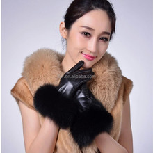Ladies Hand Gloves Fancy Sheep Leather Genuine Silver Fox Fur Trim Decorated