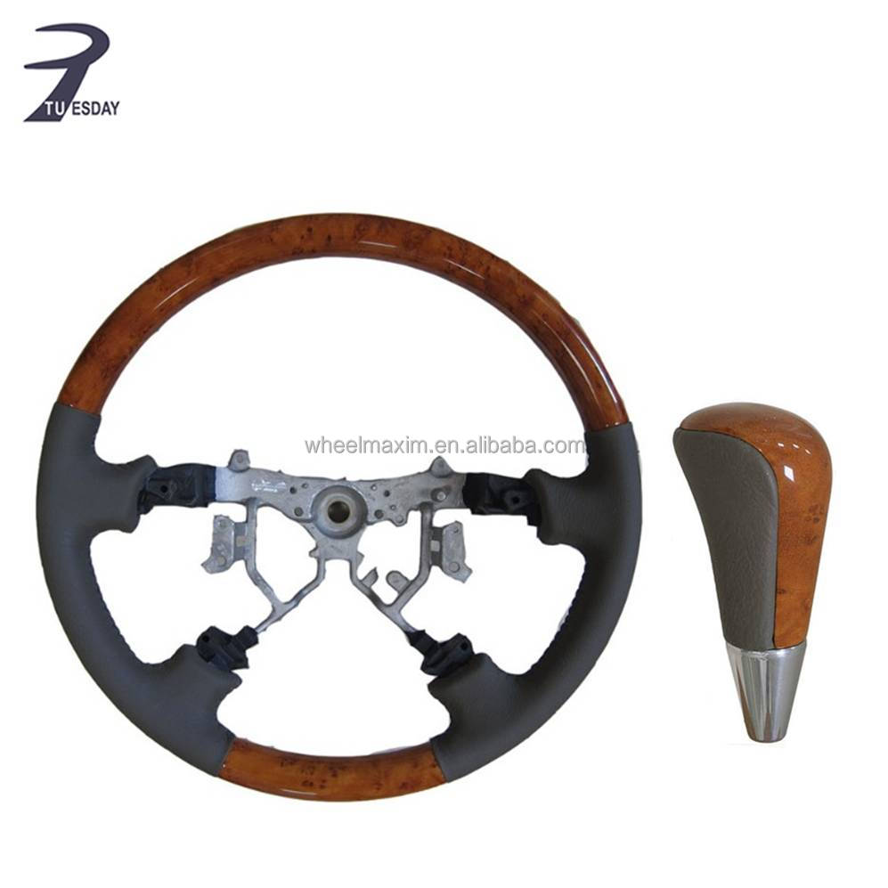 2003-2007 high quality leather with light wood grain steering wheel for Landcruiser 100 Series auto parts with gear shift knob