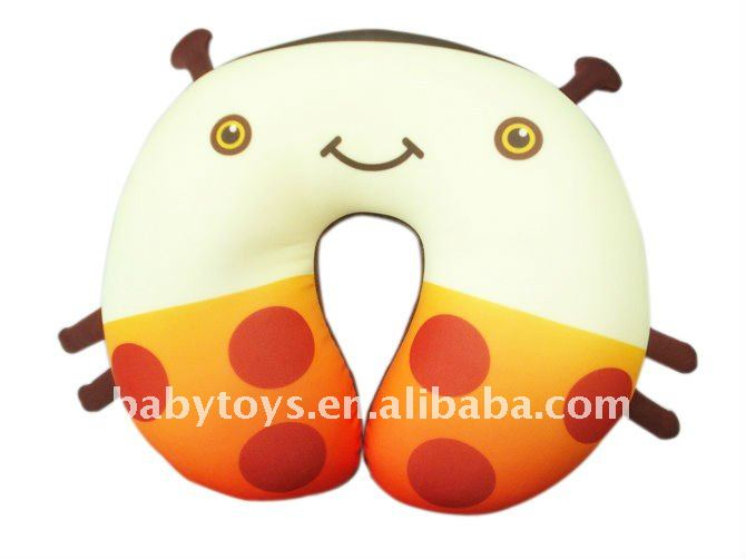 U-shaped neck cushion with flower pattern,polylon Lycra cushion