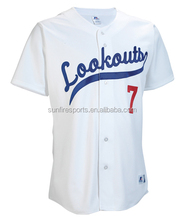 Dry fit custom button down baseball jersey