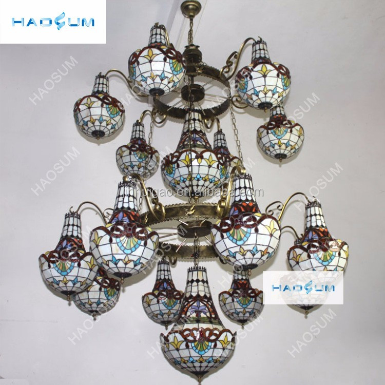 Tiffany style hanging lamp stained glass hanging pendant lights glass chandeliers wholesale