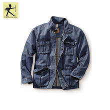 Fashion Winter Free Sample Custom Colors Man Coat Jackets Cotton Linen Casual Field Denim Jacket With Logo Snap Button