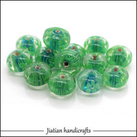 10*14mm roundle lampwork green glass beads wholesale for jewelry making*