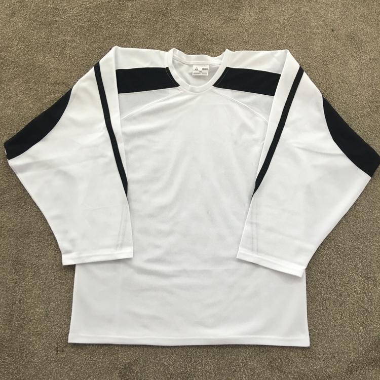 adult white and black custom hockey club practice ice hockey jersey equipment for training