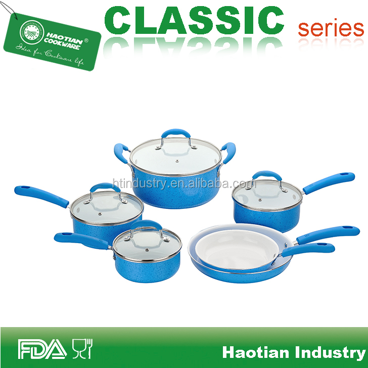 Blue Enamel Ceramic Coated Cookware Set