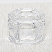 Pressed thick clear glass hexagonal storage jar with lid custom logo printing