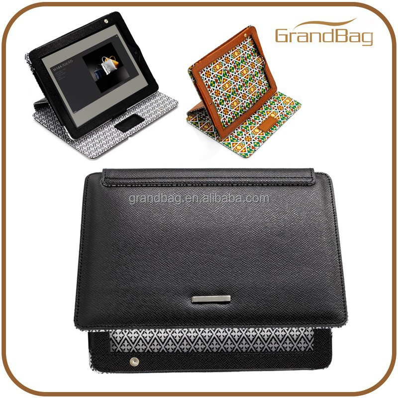 China Supplier Genuine Calf Leather Cosmati Cover for Ipad Leather Tablet Stand Case