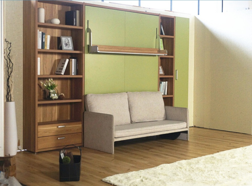 Modern space saving furniture foldable bed hidden wall bed murphy bed with sofa view hidden - Sofas small spaces model ...