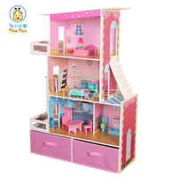 New Arrival Fancy Three Storeys Wooden Toy Doll House For Wholesale, Lovely Wooden Toy