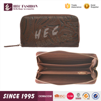 HEC Latest Design Fashion Pattern Printed Brown Leather Clutch Ladies Purse Wallet
