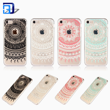 Hot Selling Transparent Print Relief Floral Mandala Flower Painting TPU + PC Clear Phone Case Cover For iPhone 7