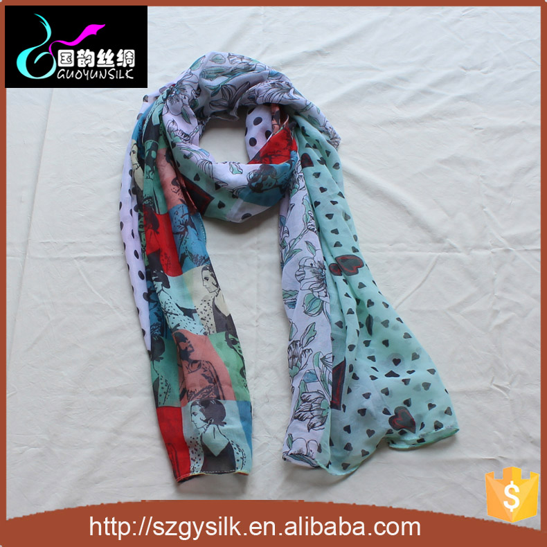 Digital Print Custom Design 100% Silk Chiffon Scarves