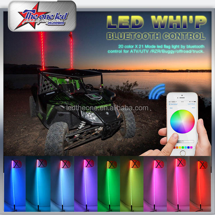 Buggy LED Safety Whip For ATV UTV RZR Buggy SUV JEEP SXS, Buggy whip flag Remote control Led Whip
