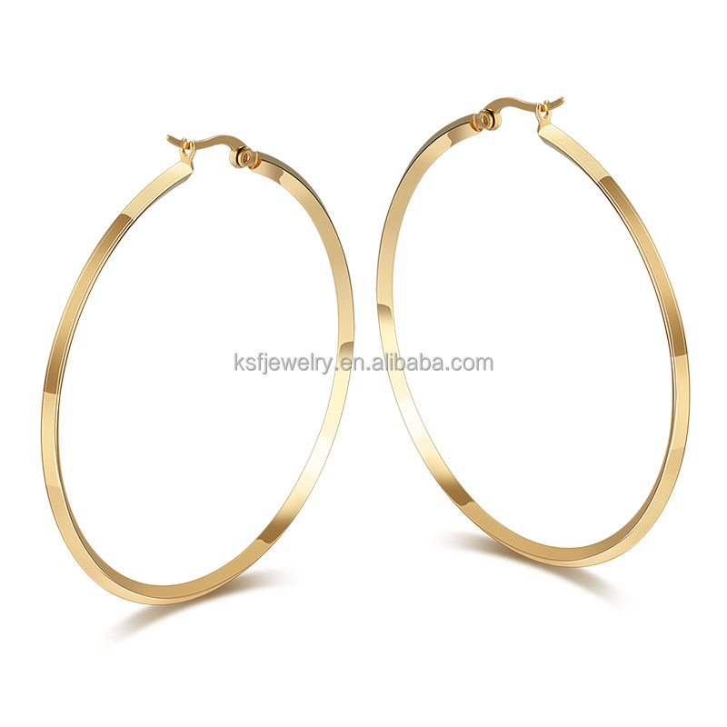 Stainless Steel 18K Gold Plated Big Hoop <strong>Earring</strong> For Women