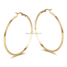 Stainless Steel 18K Gold Plated Big Hoop Earring For Women